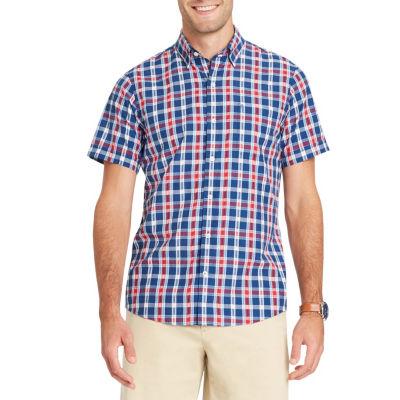 IZOD Breeze Short Sleeve Plaid Button Down  Shirt