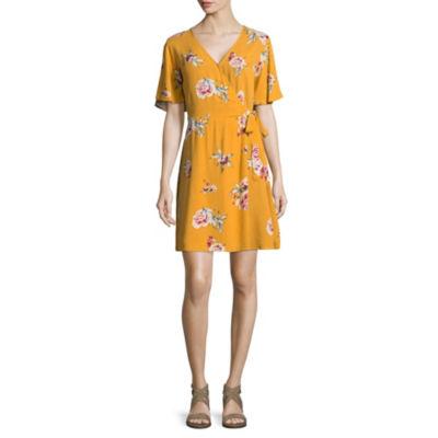 Rewind Short Sleeve Floral Wrap Dress-Juniors