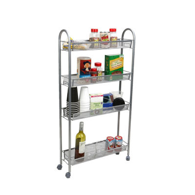 Mind Reader 4 Tier Slim and Tall Kitchen Trolley, Silver