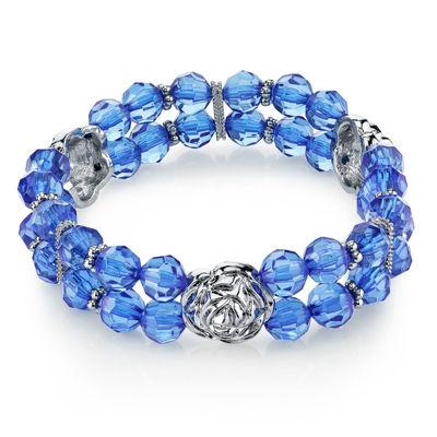 1928 Vintage Inspirations Blue Flower Stretch Bracelet