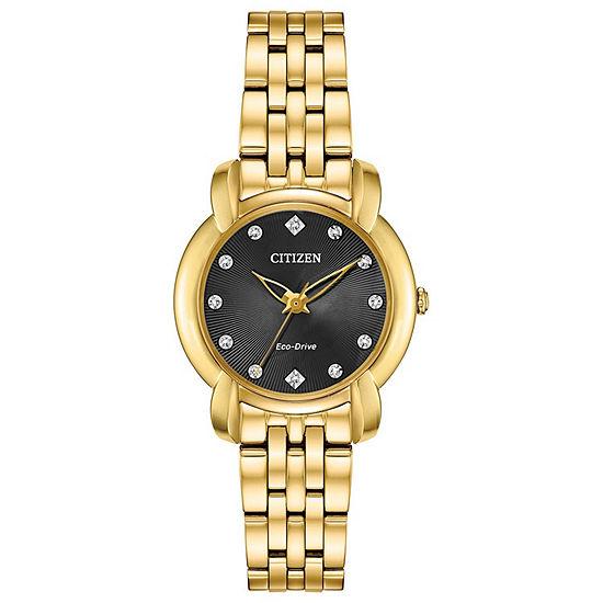 Citizen Jolie Womens Gold Tone Stainless Steel Bracelet Watch-Em0712-59e