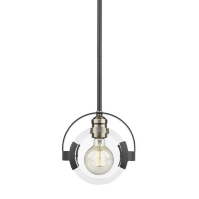 Golden Lighting Amari Mini Pendant in Black with Aged Brass Accents