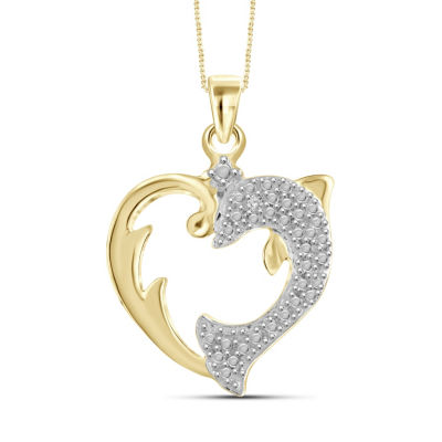 Womens Diamond Accent White Diamond Round Pendant Necklace