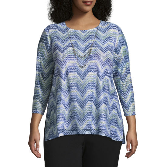 Alfred Dunner Texture Zig Zag Tee - Plus