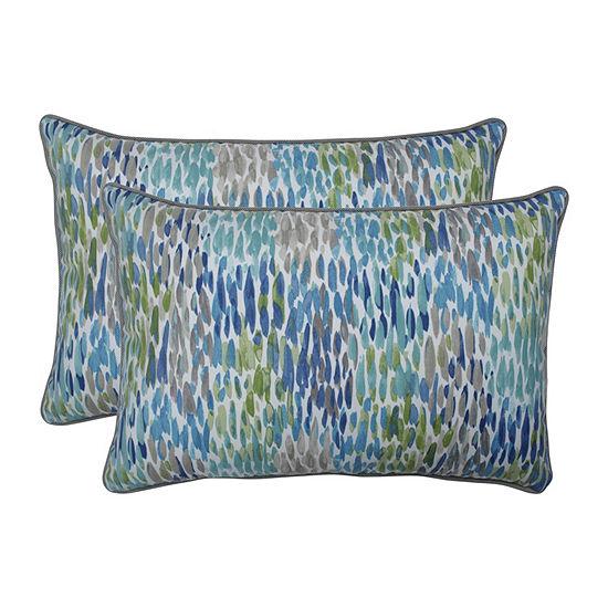 Pillow Perfect Make It Rain Cerulean Set Of 2 Oversized Rectangular Outdoor Throw Pillows