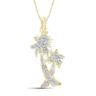 Womens Diamond Accent White Diamond Round Pendant Necklace