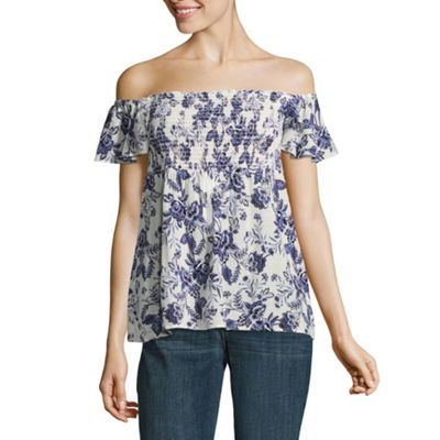 by&by Short Sleeve Off - Shoulder Crepon - Juniors