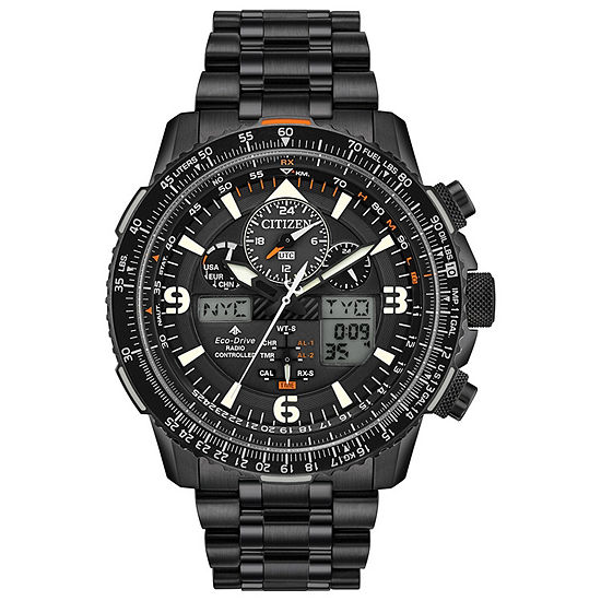 Citizen Promaster Skyhawk A-T Mens Chronograph Black Stainless Steel Bracelet Watch-Jy8075-51e