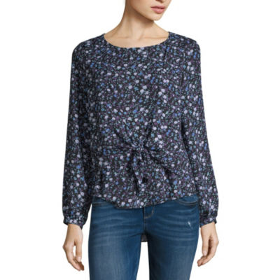 Belle + Sky Womens Round Neck Long Sleeve Woven Blouse