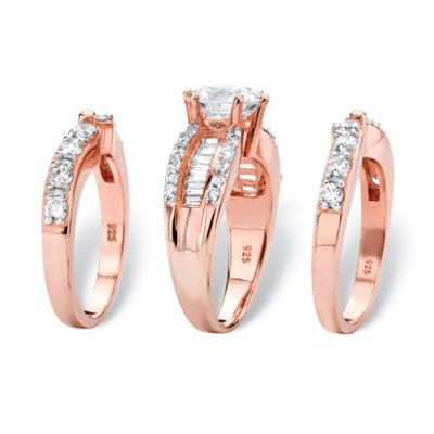 Diamonart Womens 4 CT. T.W. White Cubic Zirconia 14K Rose Gold Over Silver Round Bridal Set