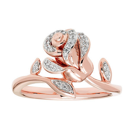 "Enchanted Disney Fine Jewelry 1/10 CT. T.W. Diamond 14K Rose Gold Over Silver ""Beauty and the Beast"" Ring, 7"
