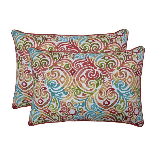 Pillow Perfect Corinthian Dapple Set of 2 Oversized Rectangular Outdoor Throw Pillows