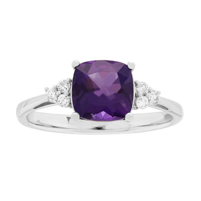 Womens Genuine Purple Amethyst 10K White Gold Cocktail Ring