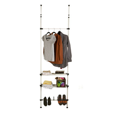 Mind Reader 2 Bars and 2 Shelves Garment and Shoes Rack, White