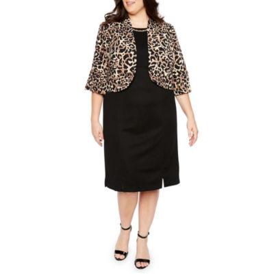 Maya Brooke 3/4 Sleeve Animal Print Jacket Dress - Plus