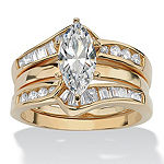 Diamonart Womens 3 1/2 CT. T.W White Cubic Zirconia 18K Gold Over Silver Diamond Bridal Set