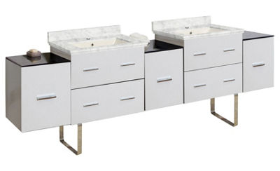 88.5-in. W Floor Mount White Vanity Set For 1 HoleDrilling Bianca Carara Top Biscuit UM Sink