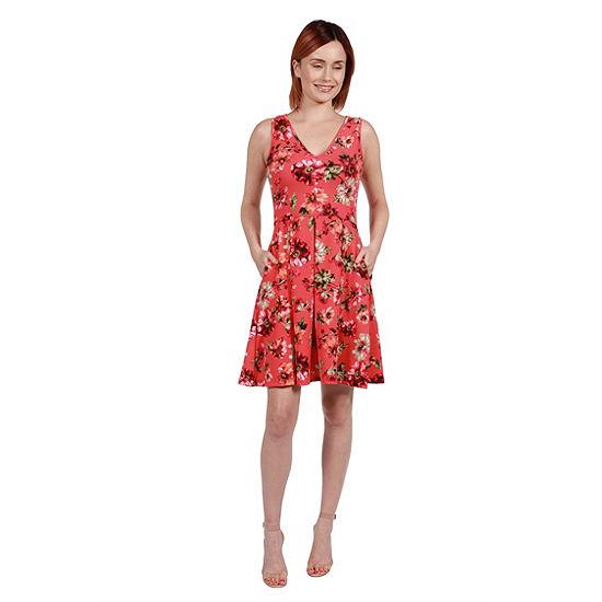 24Seven Comfort Apparel Margaret Pink Floral Fit and Flare Mini Dress - Plus