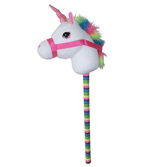 Ponyland Giddy Up Fantasy 28 Stick Horse Plush White Unicorn W Sound