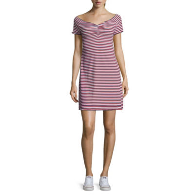Arizona Short Sleeve Stripe A-Line Dress-Juniors
