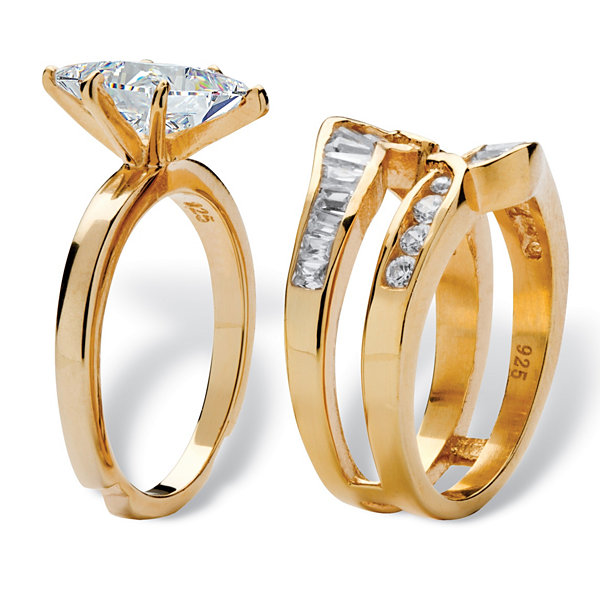Diamonart Womens 3 1/2 CT. T.W White Cubic Zirconia 18K Gold Over Silver Bridal Set