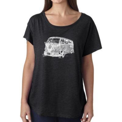 Los Angeles Pop Art Women's Loose Fit Dolman Cut Word Art Shirt - THE 70'S