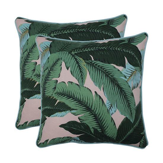 Pillow Perfect Swaying Palms Capri Set of 2 18.5-Inch Outdoor Throw Pillows