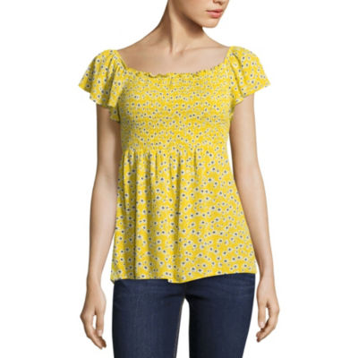 by&by Short Sleeve Scoop Neck Crepon Blouse-Juniors