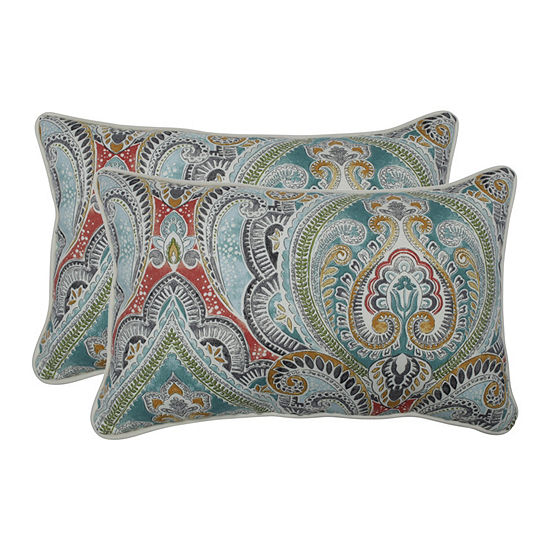 Pillow Perfect Pretty Witty Reef Set of 2 Rectangular Outdoor Throw Pillows