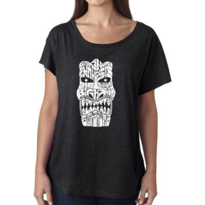Los Angeles Pop Art Women's Loose Fit Dolman Cut Word Art Shirt - TIKI - BIG KAHUNA