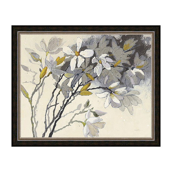 Magnolia Yellow and Gray Framed Print