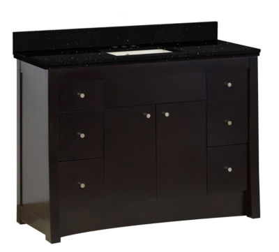 47.6-in. W Floor Mount Distressed Antique Walnut Vanity Set For 3H4-in. Drilling Black Galaxy Top Biscuit UM Sink
