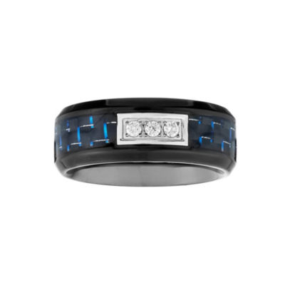 Mens 1/10 CT. T.W. White Diamond Stainless Steel Carbon Fiber Wedding Band