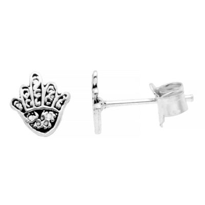 Itsy Bitsy Hand Of God Earring Pure Silver Over Brass 7mm Stud Earrings