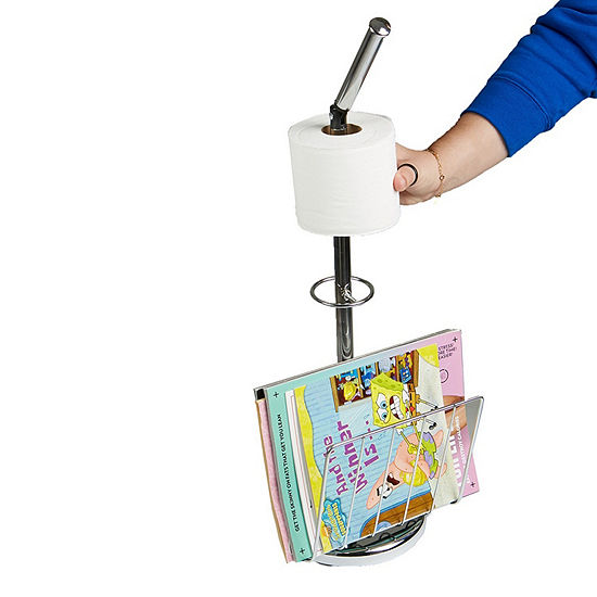 Mind Reader Stainless Steel Toilet Paper Holder with Magazine Holder, Silver