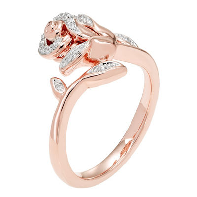 "Enchanted Disney Fine Jewelry 1/10 CT. T.W. Diamond 14K Rose Gold Over Silver ""Beauty and the Beast"" Ring"