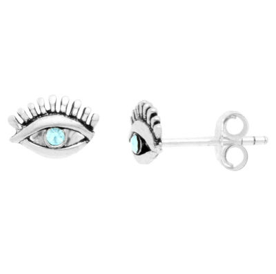 Itsy Bitsy Eye With Lashes Earring Lab Created Clear Pure Silver Over Brass 5.5mm Stud Earrings