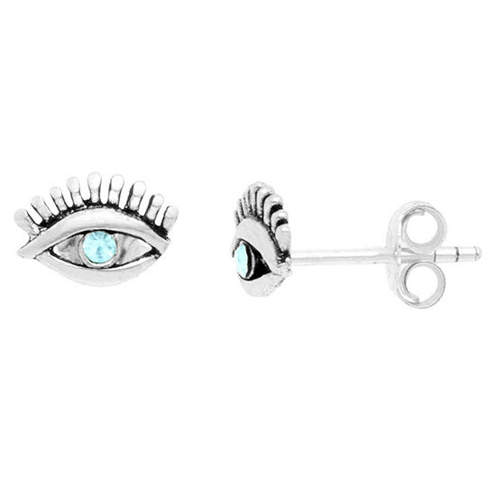 Itsy Bitsy Eye With Lashes Earring Crystal Pure Silver Over Brass 5.5mm Stud Earrings