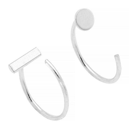 Itsy Bitsy C Hook Earring Pure Silver Over Brass Hoop Earrings
