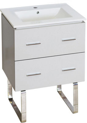 23.75-in. W Floor Mount White Vanity Set For 1 Hole Drilling