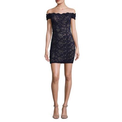 Speechless Short Sleeve Bodycon Dress-Juniors