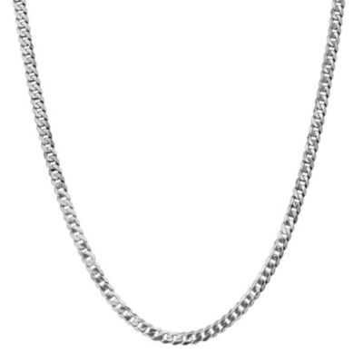 14K White Gold Solid Curb 18 Inch Chain Necklace