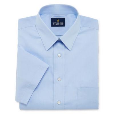 Stafford Travel Stretch Performance Super Shirt Short Sleeve Big And Tall Broadcloth Dress Shirt