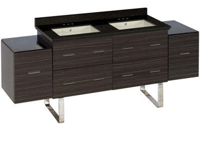75.5-in. W Floor Mount Dawn Grey Vanity Set For 3H4-in. Drilling Black Galaxy Top Biscuit UM Sink
