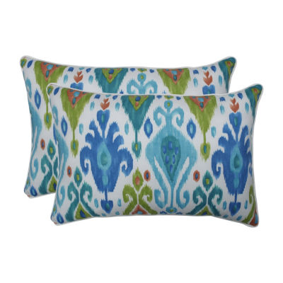 Pillow Perfect Paso Caribe Set of 2 Oversized Rectangular Outdoor Throw Pillows
