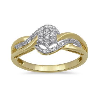 Diamond Blossom Womens 1/4 CT. T.W. Genuine White Diamond 10K Gold Cocktail Ring