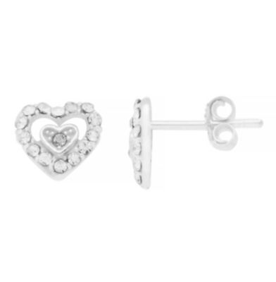 Itsy Bitsy Double Heart Earring Crystal Pure Silver Over Brass 8.4mm Stud Earrings
