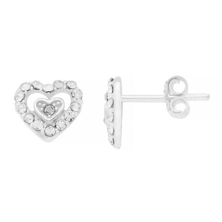 Itsy Bitsy Double Heart Earring Crystal Pure Silver Over Brass 8.4mm Stud Earrings. One Size