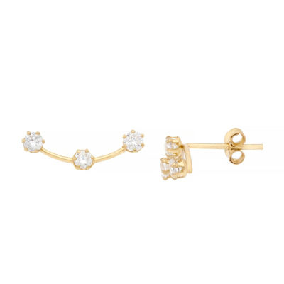 Itsy Bitsy 3 Station Earring Lab Created Clear 14K Gold Over Silver 7.8mm Stud Earrings