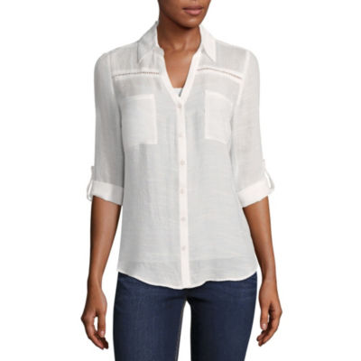 by&by Elbow Sleeve V Neck Gauze Blouse-Juniors